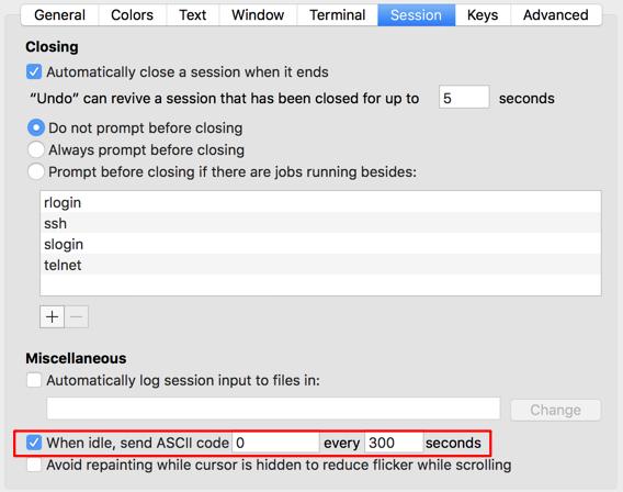 [Mac] 讓 iTerm 定時送出訊號,避免 SSH 連線被凍結